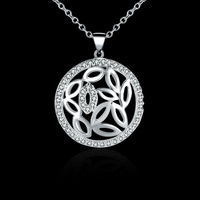 New fashion jewelry ,925 sterling silver round shaped crystal pendant necklace,wholeslae N542