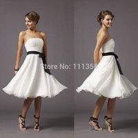 2015 Strapless Chiffon  Elastic Woven Satin Wedding Dress With Ribbon  New Hot Sale WR002