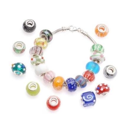 AlphaAcc 100Pcs Silver Lampwork Murano Glass Beads to Fit Pandora Style Charm Bracelets 100 3