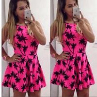 New Fashion Women Sleeveless Coconut Tree printed dresses pink dress cute vestidos