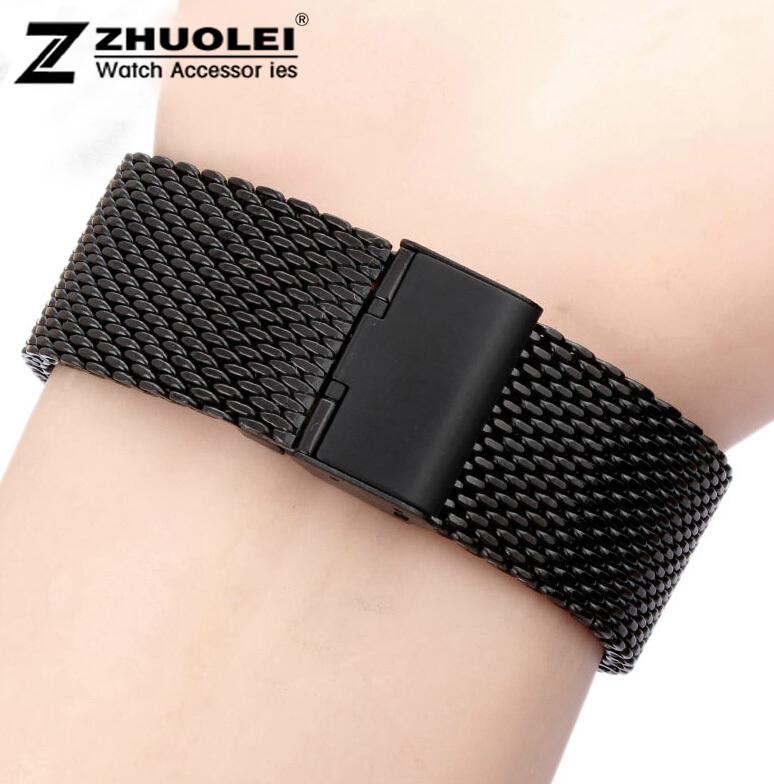 18 mm 20 mm 22 mm 24 mm nova alta qualidade em aço inoxidável assista malha pulseiras substituição cintas banda fivela de segurança grátis frete(China (Mainland))