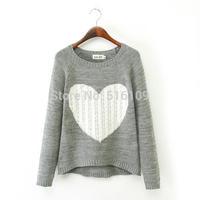 2014 new Winter fashion wild elegant heart -sleeved knit sweater slim wholesale Price