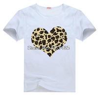Leopard Heart Brown Tee t shirt for kid Boy Girl clothing  top  clothes cartoon tshirt Dress