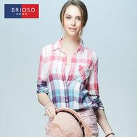 Brioso2014 autumn long-sleeve shirt female gradient plaid shirt 100% cotton plus size clothing