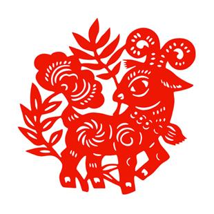 Wishful sheep / paper-cut window grilles festivity glass decorative stickers Happy New Year 2015 Year of the Goat cartoon mascot(China (Mainland))