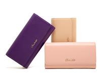 AC486 cute sweet Elegant solid saffiano leather  money clip Wallet Purse card Holder