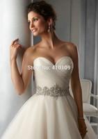 free shipping ,new  Sexy Pleated Sweetheart Rhinestone Belt Open Back Princess Wedding dress Bridal Gown