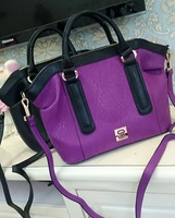 AC487 Cozy Casual bicolor Faux Leather  handbag sling bag crossbody bag purple black