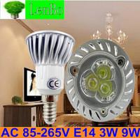 Free Express Shipping 100pcs/lot 220V E14 3W 9W Dimmable High Power spot light LED spotlight tubes bulb Lighting lamps LS51
