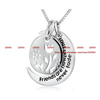 2015 Fashion Friends Are Flower That Never Fade Silver Pendant Necklace Women Girls Gift Jewelry