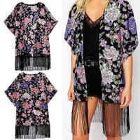 Women's Vintage Ethnic Floral Print Flower Tassels Kimono Short Bat Sleeve Cardigan Chiffon Blouse Jacket Coat Top