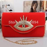 Luxury exaggerated fashion diamond eyes suede clutch handbag evening bag ladies fashion chain shoulder bag purse party