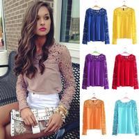 Chiffon Blouses Blusas Blusa Roupas Camisas Femininas 2014 Plus Size Body Shirt Women Tops Lace Crochet Casual Chiffon Blouse