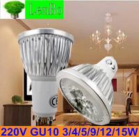 Factory directly sale 10pcs/lot GU10 spot light 3W 4W 9W 12W 15W LED spotlight tubes110v 220v 240v cold white warm bulb LS72
