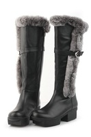 trade 2014 new women rabbit fur leather long boots ladies thick heel snow boots horse boots big size
