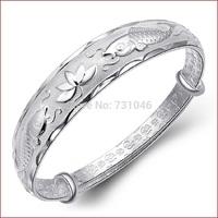 2014 The new high-grade silver bracelet 3D relief, 925 silver jewelry,Ms. Beas lotus bracelet bracelets,low price, free shipping