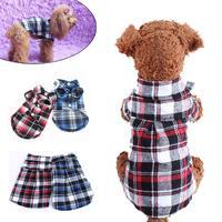 HOT saling Cotton Blend Small Pet Dog Puppy Plaid T Shirt Lapel Coat Cat Jacket Clothes Apparel Tops