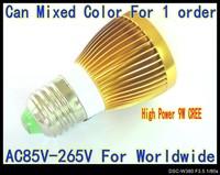 9W globe lamp 6PCS/LOT E27 base high power AC85---265V LED lamp Globe Bulb golden color spot light down lights 6 colors LB35