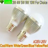 Hot Sales E27 3W 4W 5W 9W 10W Globe lamp LED Globe lamp 220V 110V 10PCS/Lot Cool White silver body LB4