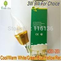 3W 9W E14 base High Power Candle Light Flame Shape Cap AC85V---265V LED bulb LED Lamp 6color for choice Gold Case LC10
