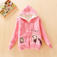 Children's clothing girls autumn outerwear  child  plus velvet outerwear thickening child cardigan sweatshirt