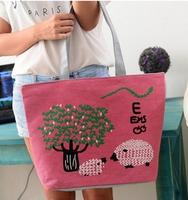 2014 NEW BAGS FOR FEMALE BAGS CANVAS WOMEN HANDBAG FLOWER DESIUGAL  FASHION WOMEN MESSAGE TOTE BAGS SIZE: (43*32*10)cm HB01