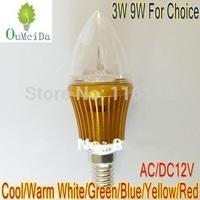 3W 9W 12V AC/DC 4PCS/LOT Candle Light E14 base LED bulb LED Lamp 6colors for choice Gold Case LC9
