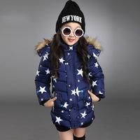 New Arrive Girls Fur Collar Jackets & Coats Winter Stars Printing Coats And Jackets Children Outerwear Kids Down&Parkas hot sale