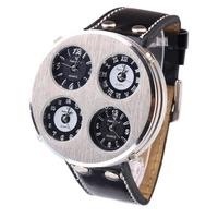pateker Watches Men Luxury Brand Quartz Watch +Mens Leather Strap Watches+Oversized 4 Time Zone Sport Watch Male Clock