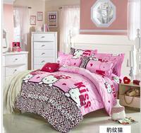 Hello Kitty bedding set 100% cotton Christmas gift brand bed clothing comforter set bed set quilt cover linens duvet set kids