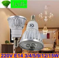 Wholesale 10pcs/lot 220V E14 12W 15W Dimmable High Power spot light AC85-265V LED spotlight tubes bulb Lighting lamps LS72