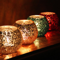 Modern gold silver red blue four color ice broken pattern glass candle cup, bar ,home decoration,free shipping