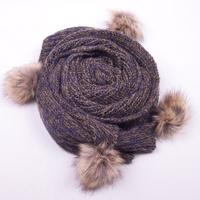 Blue Women's Scarf mohair MAGLIERIA Long shawl Wraps With Rabbit Fur Ball 200x38cm