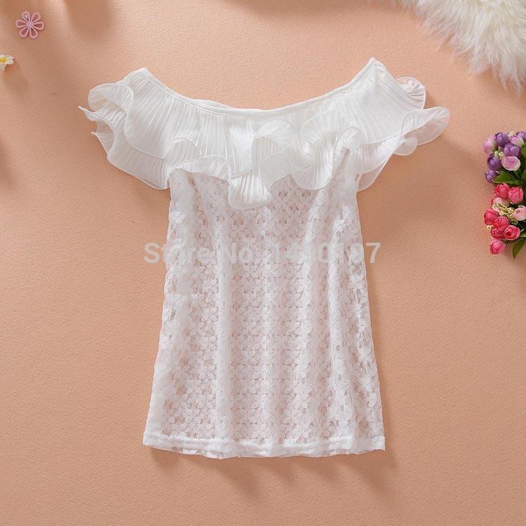 2014 summer new sweet lotus leaf collar shirt Slim T shirt lace shirt(China (Mainland))