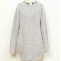 Hong Kong genuine purchasing 2014 autumn and winter long section of gemstone rhinestone collar angora knit sweater dress 4317