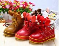 children girls winter boots fashion princess leather martin shoes snow boots solid dot 3D cartoon solid lace up velvet plus fur