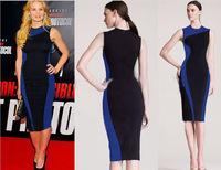 2014 New Summer Women's Elegant OL Style Sleeveless Slim Pencil Dresses Plus SizeS-XL,Free Shipping