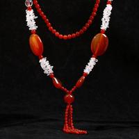 Free shipping 2014 new European fashion jewelry female punk retro royal nobles double agate tassel short necklace female