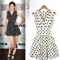 Summer New European Brand Women Fashion Chiffon Dresses Ladies Casual Dot Dress Vestidos Free Shipping
