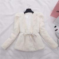 Factory 2014 New Design Women's Real Full Pelt Rex Rabbit Fur Coat /Fur Clothing /Fur Garment With Belt High Quality