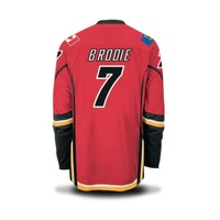 FREESHIPPING FLAMES #7 BRODIE HOME RED  STITCHED ICE HOCKEY JERSEYS  SZ 48 50 52 54  M L XL XXL