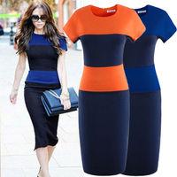 Fashion women's star elegant t colorant match slim one-piece dress