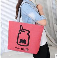 HELLO MILK MILK BAGS DESIGUAL CUTE FAHSION  BAGS OF CANVAS HANDBAGS MESSAGE  BAGS WOMEN  THE SIZE: (43*32*10)cm HB01