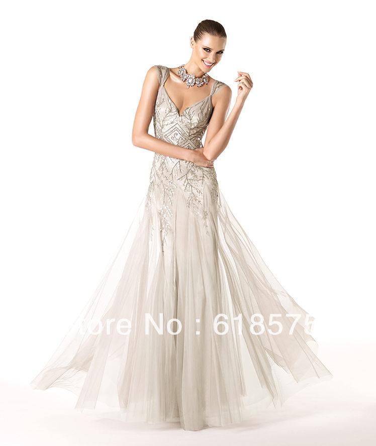 2014 Formal Dresses 2014 Vintage v Neck Cap Sleeve