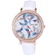 2014 Hot sale fashion watch beautiful blue dragonfly diamond jewelry snake crystal leather strap women quartz watches
