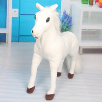 New Stuffed Plush Toy Simulation Horse Animal Doll Standing 48cm White and Brown Children's Birthday gift Quality Free shipping