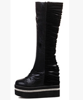 2014 Women's Fashion Punk Style Thick Sole Platform Mid-Calf Fashion Boots Leather Boots US Size 5-8.5 D360