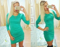 NXY32H# 2014 New Fashion Women Long Sleeve Dress Casual Pencil O-Neck Dresses