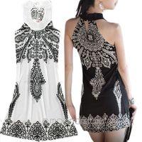 Boho Retro Women's totem pattern Dress Mini Sleeve Summer Club Hot Dance Dresses ZE0855#M4