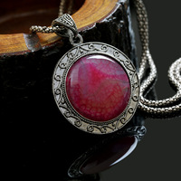 Fashion Women Dress Accessories Choker Statement Necklace,Bib Collar Jewelry With Elegant Alloy Chains And Agate Pendant
